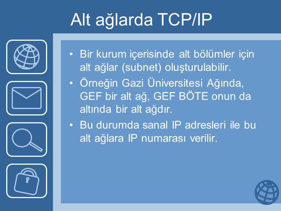 Alt ağlarda TCP/IP Bir kurum içerisinde alt bölümler için alt ağlar (subnet) oluşturulabilir. Örneğin Gazi Üniversitesi Ağında, GEF bir alt ağ, GEF BÖ