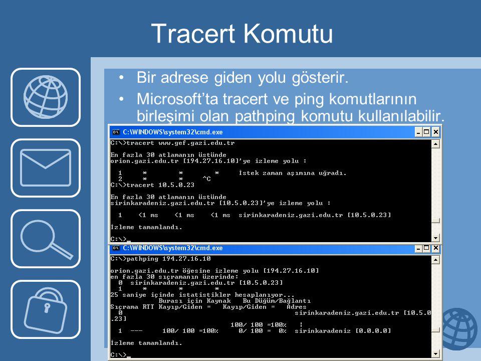 Tracert Komutu Bir adrese giden yolu gösterir. Microsoft'ta tracert ve ping komutlarının birleşimi olan pathping komutu kullanılabilir.