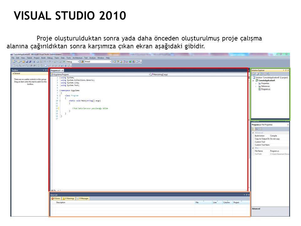 VISUAL STUDIO 2010 Proje oluşturulduktan sonra yada daha önceden oluşturulmuş proje çalışma alanına çağırıldıktan sonra karşımıza çıkan ekran aşağıdak