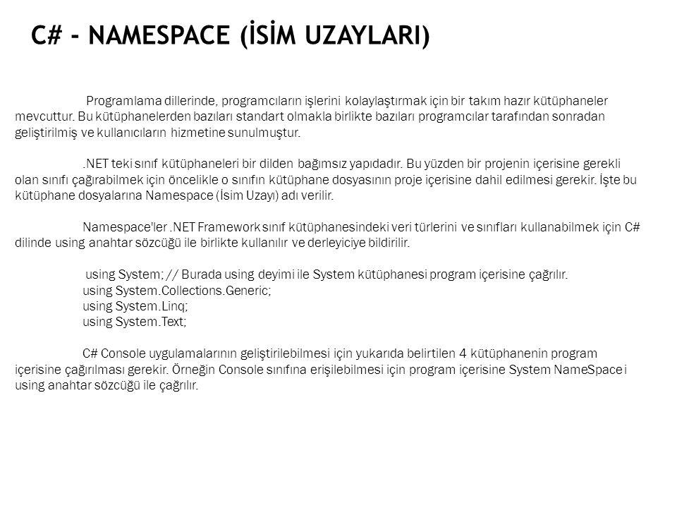 C# - NAMESPACE (İSİM UZAYLARI) Programlama dillerinde, programcıların işlerini kolaylaştırmak için bir takım hazır kütüphaneler mevcuttur. Bu kütüphan