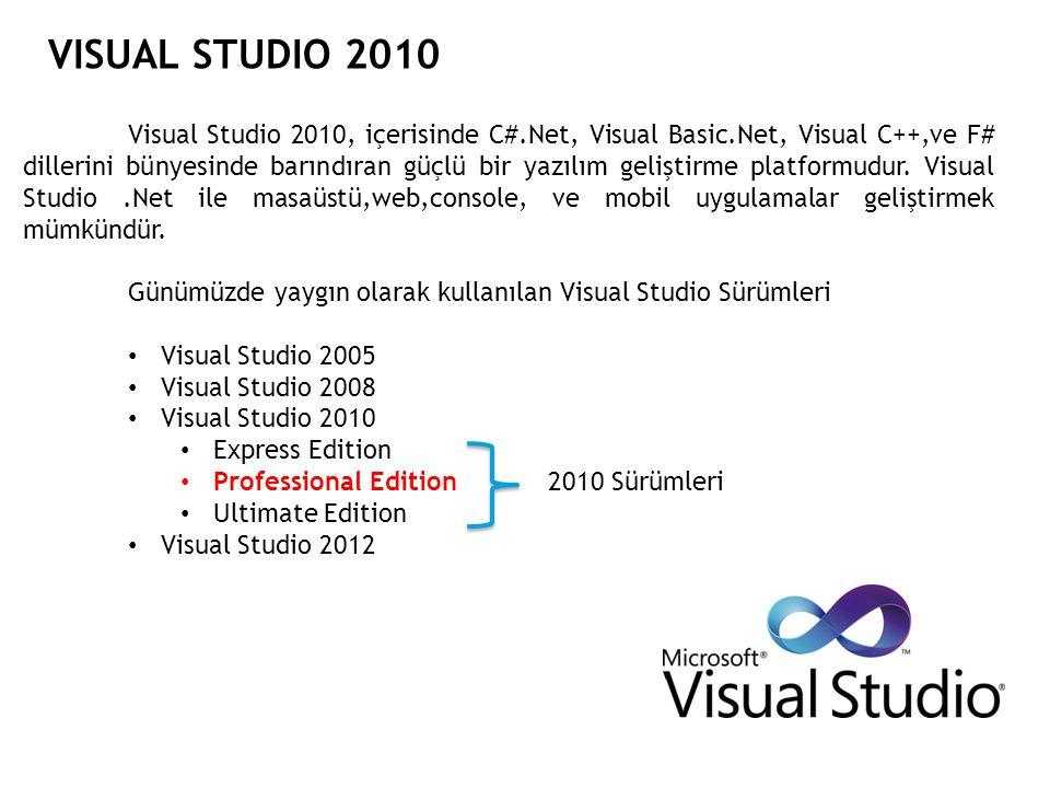 VISUAL STUDIO 2010 Yorum Satırları Programcılar yazdıkları program içerisinde bazı durumlarda açıklama satırları ekleme ihtiyacı duyarlar.