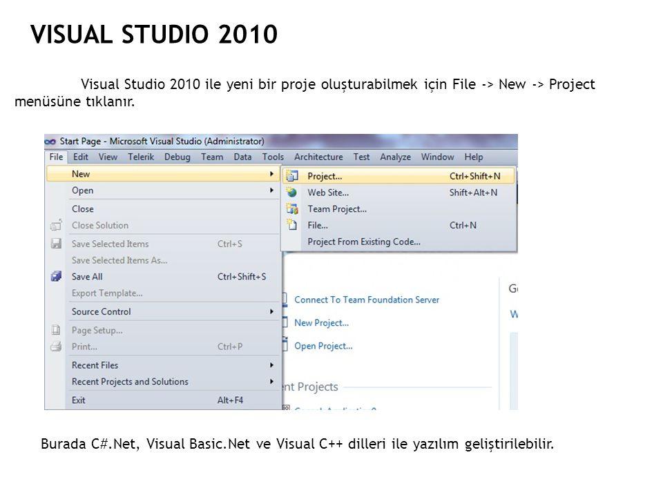 VISUAL STUDIO 2010 Visual Studio 2010 ile yeni bir proje oluşturabilmek için File -> New -> Project menüsüne tıklanır. Burada C#.Net, Visual Basic.Net