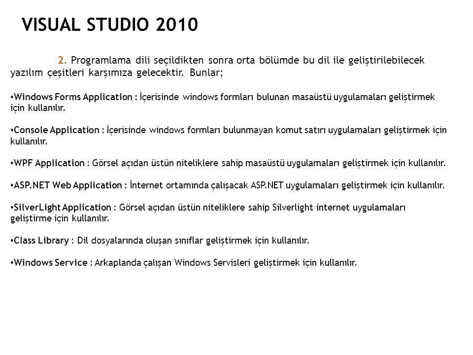 VISUAL STUDIO 2010 2. Programlama dili seçildikten sonra orta bölümde bu dil ile geliştirilebilecek yazılım çeşitleri karşımıza gelecektir. Bunlar; Wi