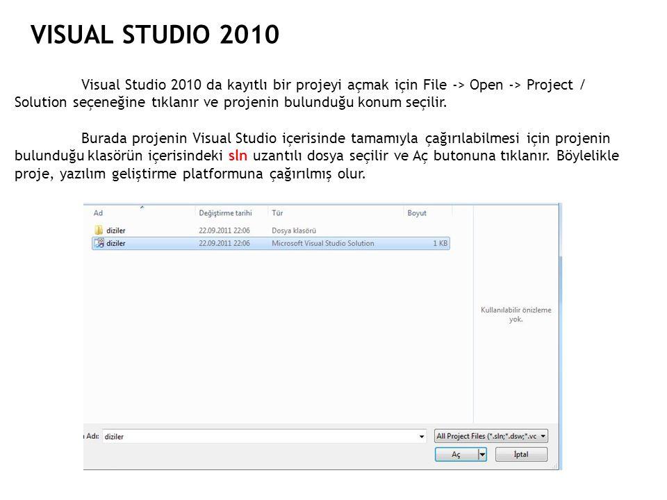 VISUAL STUDIO 2010 Visual Studio 2010 da kayıtlı bir projeyi açmak için File -> Open -> Project / Solution seçeneğine tıklanır ve projenin bulunduğu k