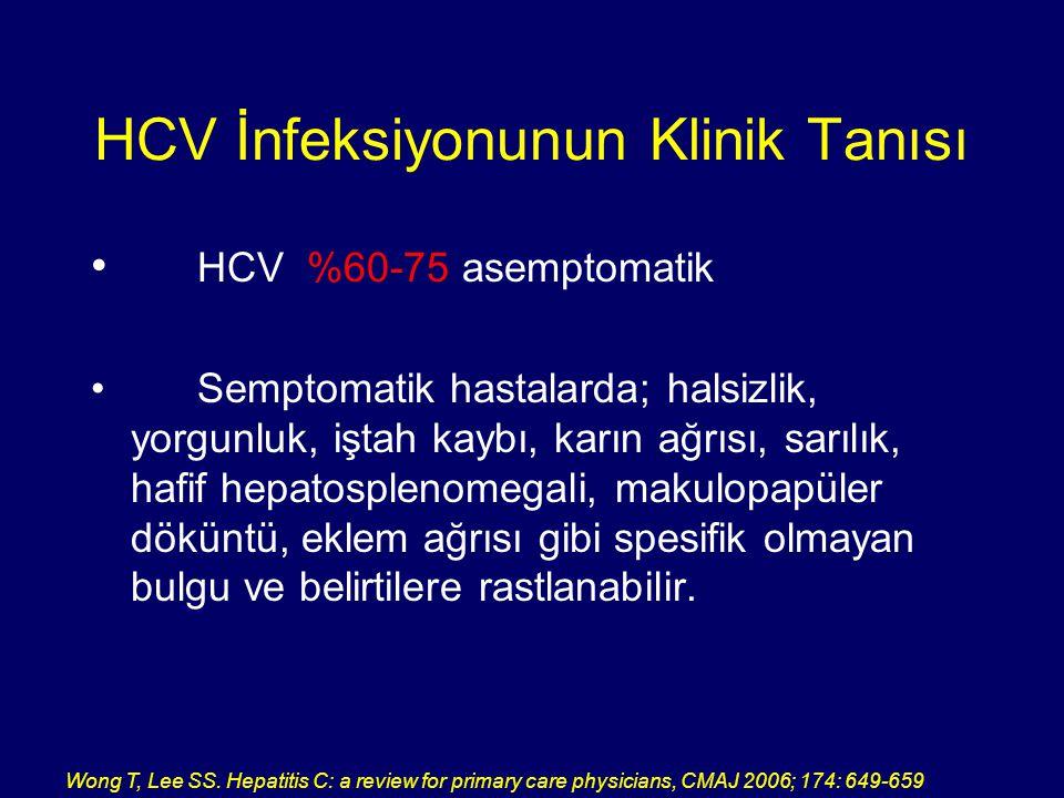 HCV İnfeksiyonunun Klinik Tanısı HCV %60-75 asemptomatik Semptomatik hastalarda; halsizlik, yorgunluk, iştah kaybı, karın ağrısı, sarılık, hafif hepat