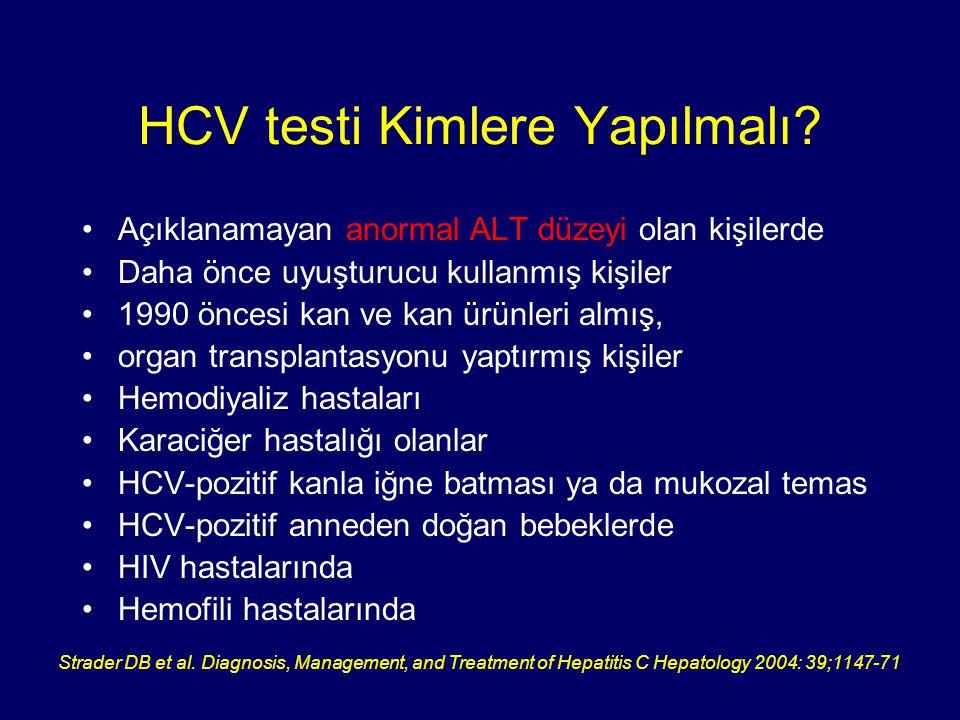 HCV testi Kimlere Yapılmalı? Açıklanamayan anormal ALT düzeyi olan kişilerde Daha önce uyuşturucu kullanmış kişiler 1990 öncesi kan ve kan ürünleri al