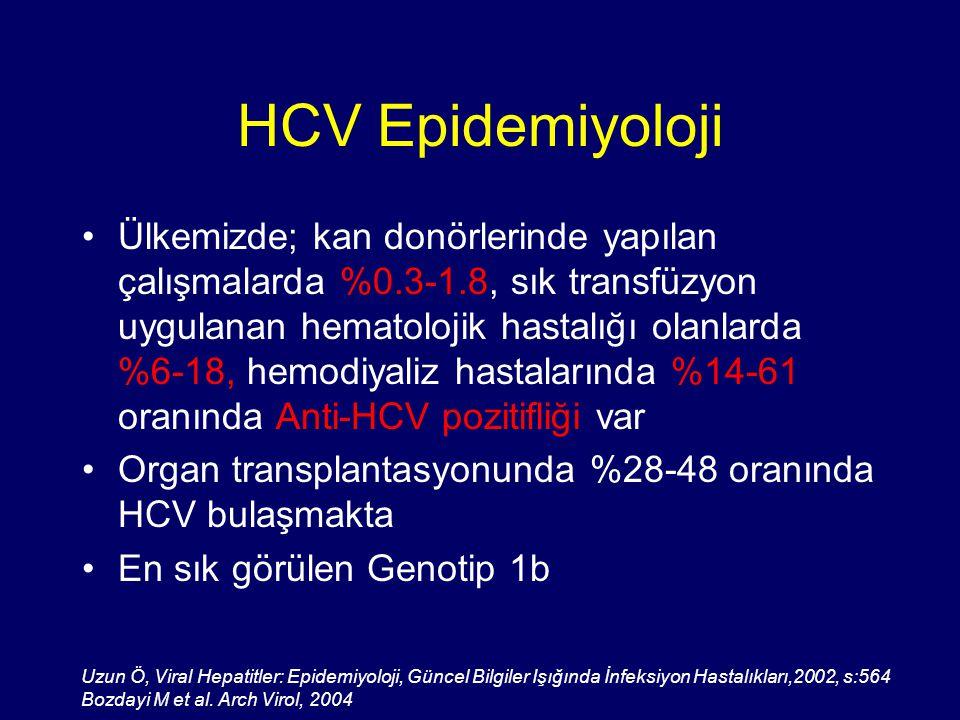 HCV Epidemiyoloji Ülkemizde; kan donörlerinde yapılan çalışmalarda %0.3-1.8, sık transfüzyon uygulanan hematolojik hastalığı olanlarda %6-18, hemodiya