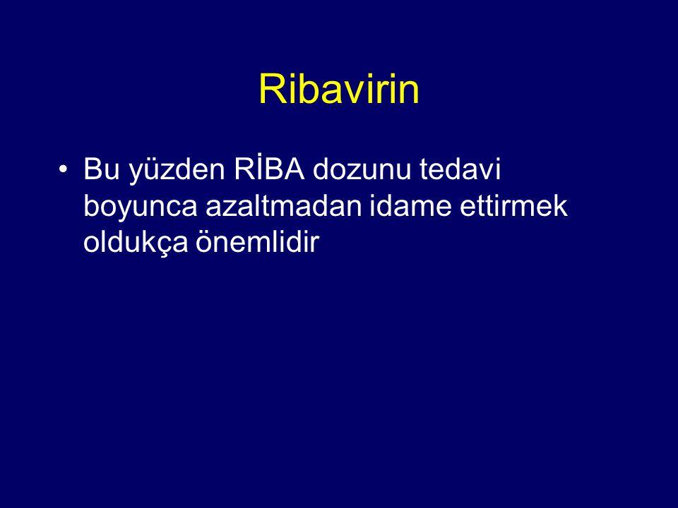 Ribavirin Bu yüzden RİBA dozunu tedavi boyunca azaltmadan idame ettirmek oldukça önemlidir