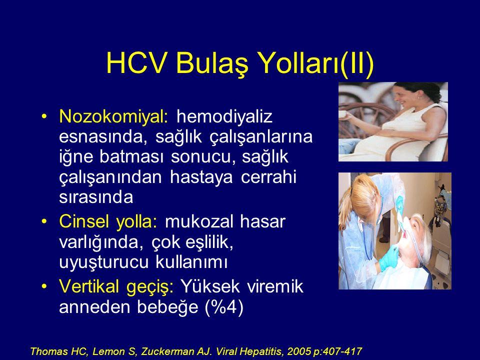 HCV Tedavi amaçları  HCV'nin yok edilmesi (Virüsün eradikasyonu)  Hepatik inflamasyonu azaltmak  Kronik hepatitten siroza ilerlemeyi geciktirmek  HCC gelişme riskini azaltmak  KC tx gereksinimini azaltmak  Bulaşmayı engellemek  Yaşam kalitesini artırmak  Yaşam süresini uzatmak 1.Worman HJ.