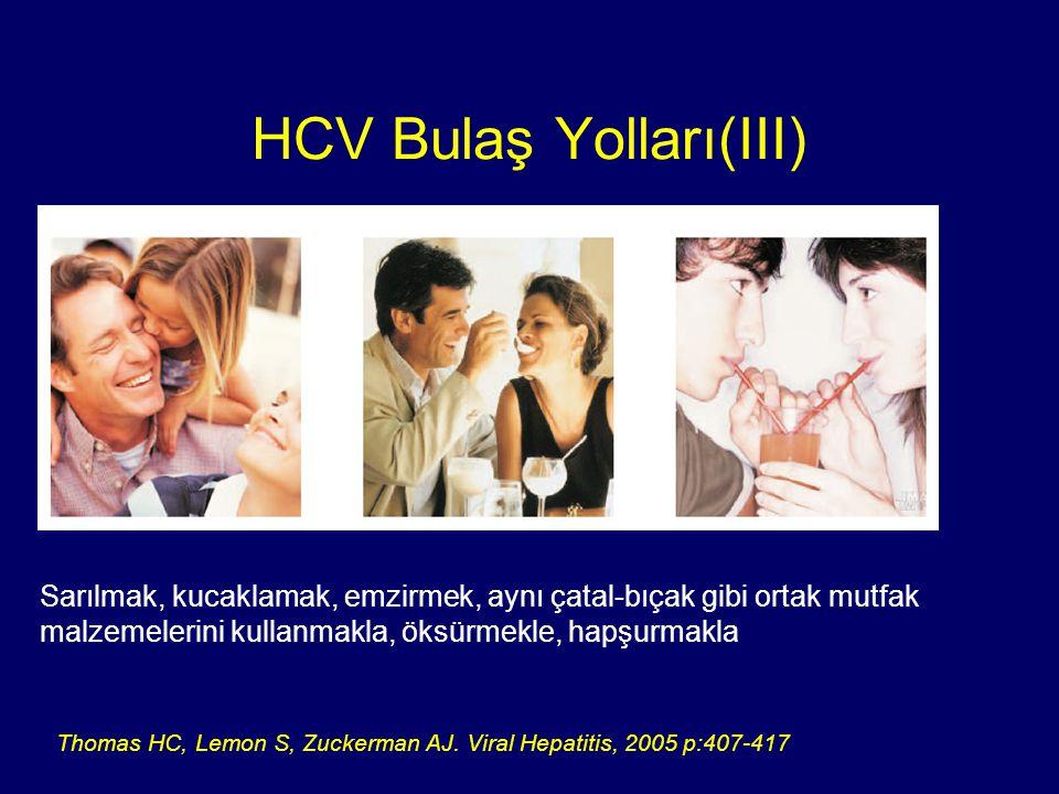 Uyuşturucu kullanım öyküsü 1990 öncesi kan ve kan ürünleri transfüzyonu veya organ transplantasyonu yapılmış olanlar Steril olmayan aletlerle dövme, piercing, manikür-pedikür yaptırmış olanlar Hemodiyaliz hastaları HCV hastasının kanı ile kontamine kişisel eşyalarının kullanımı (diş fırçası, jilet gibi) HCV Risk Grupları(I) Wong T, Lee SS.