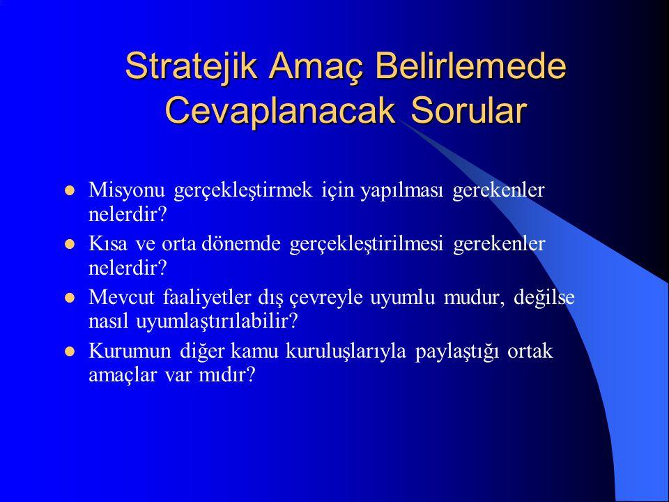 Stratejik Amaç Belirlemede Cevaplanacak Sorular Misyonu gerçekleştirmek için yapılması gerekenler nelerdir.
