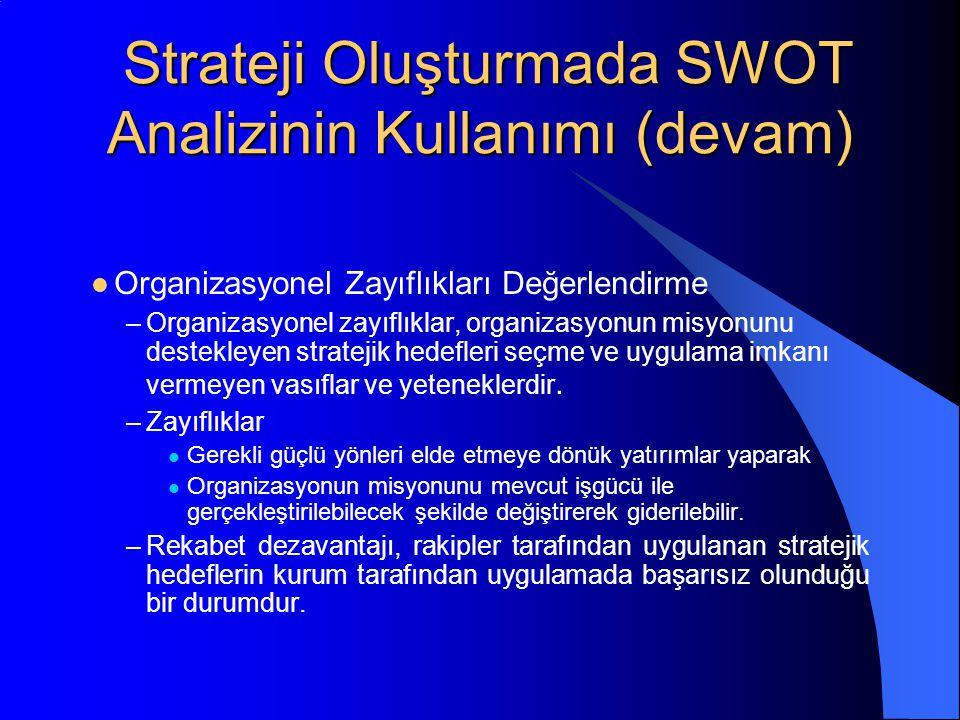 Strateji Oluşturmada SWOT Analizinin Kullanımı (devam) Strateji Oluşturmada SWOT Analizinin Kullanımı (devam) Organizasyonel Zayıflıkları Değerlendirme –Organizasyonel zayıflıklar, organizasyonun misyonunu destekleyen stratejik hedefleri seçme ve uygulama imkanı vermeyen vasıflar ve yeteneklerdir.