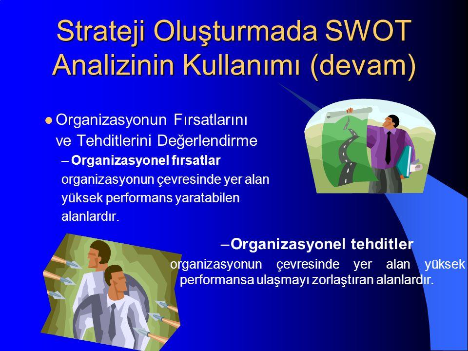 Strateji Oluşturmada SWOT Analizinin Kullanımı (devam) Organizasyonun Fırsatlarını ve Tehditlerini Değerlendirme –Organizasyonel fırsatlar organizasyonun çevresinde yer alan yüksek performans yaratabilen alanlardır.