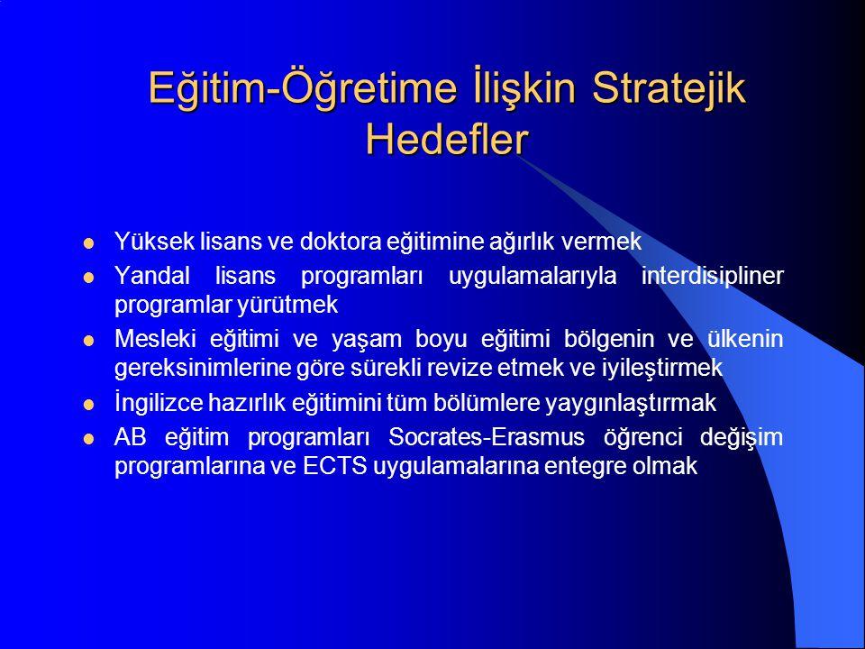 Eğitim-Öğretime İlişkin Stratejik Hedefler Yüksek lisans ve doktora eğitimine ağırlık vermek Yandal lisans programları uygulamalarıyla interdisipliner programlar yürütmek Mesleki eğitimi ve yaşam boyu eğitimi bölgenin ve ülkenin gereksinimlerine göre sürekli revize etmek ve iyileştirmek İngilizce hazırlık eğitimini tüm bölümlere yaygınlaştırmak AB eğitim programları Socrates-Erasmus öğrenci değişim programlarına ve ECTS uygulamalarına entegre olmak