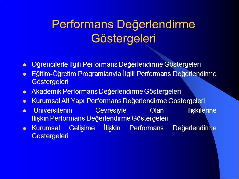 Performans Değerlendirme Göstergeleri Öğrencilerle İlgili Performans Değerlendirme Göstergeleri Eğitim-Öğretim Programlarıyla İlgili Performans Değerlendirme Göstergeleri Akademik Performans Değerlendirme Göstergeleri Kurumsal Alt Yapı Performans Değerlendirme Göstergeleri Üniversitenin Çevresiyle Olan İlişkilerine İlişkin Performans Değerlendirme Göstergeleri Kurumsal Gelişime İlişkin Performans Değerlendirme Göstergeleri
