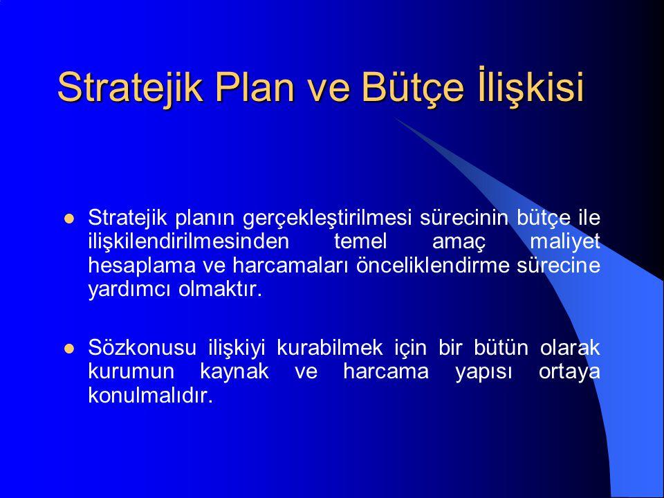 Stratejik Plan ve Bütçe İlişkisi Stratejik planın gerçekleştirilmesi sürecinin bütçe ile ilişkilendirilmesinden temel amaç maliyet hesaplama ve harcamaları önceliklendirme sürecine yardımcı olmaktır.