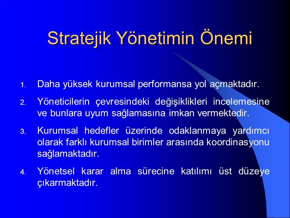Stratejik Yönetimin Önemi 1.Daha yüksek kurumsal performansa yol açmaktadır.