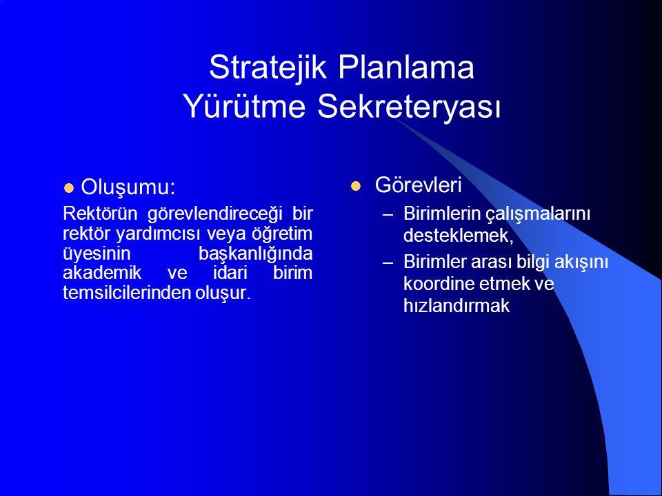 Stratejik Planlama Yürütme Sekreteryası Oluşumu: Rektörün görevlendireceği bir rektör yardımcısı veya öğretim üyesinin başkanlığında akademik ve idari birim temsilcilerinden oluşur.