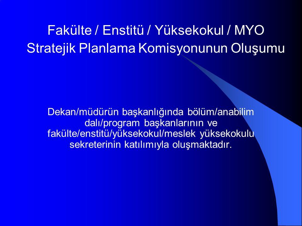 Fakülte / Enstitü / Yüksekokul / MYO Stratejik Planlama Komisyonunun Oluşumu Dekan/müdürün başkanlığında bölüm/anabilim dalı/program başkanlarının ve fakülte/enstitü/yüksekokul/meslek yüksekokulu sekreterinin katılımıyla oluşmaktadır.