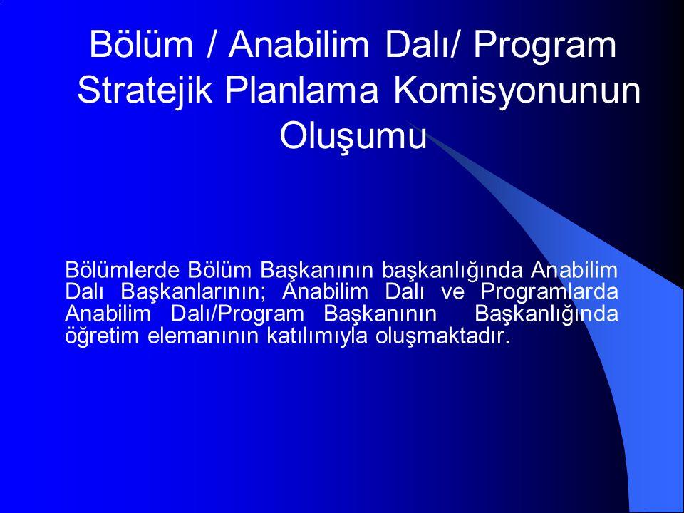 Bölüm / Anabilim Dalı/ Program Stratejik Planlama Komisyonunun Oluşumu Bölümlerde Bölüm Başkanının başkanlığında Anabilim Dalı Başkanlarının; Anabilim Dalı ve Programlarda Anabilim Dalı/Program Başkanının Başkanlığında öğretim elemanının katılımıyla oluşmaktadır.
