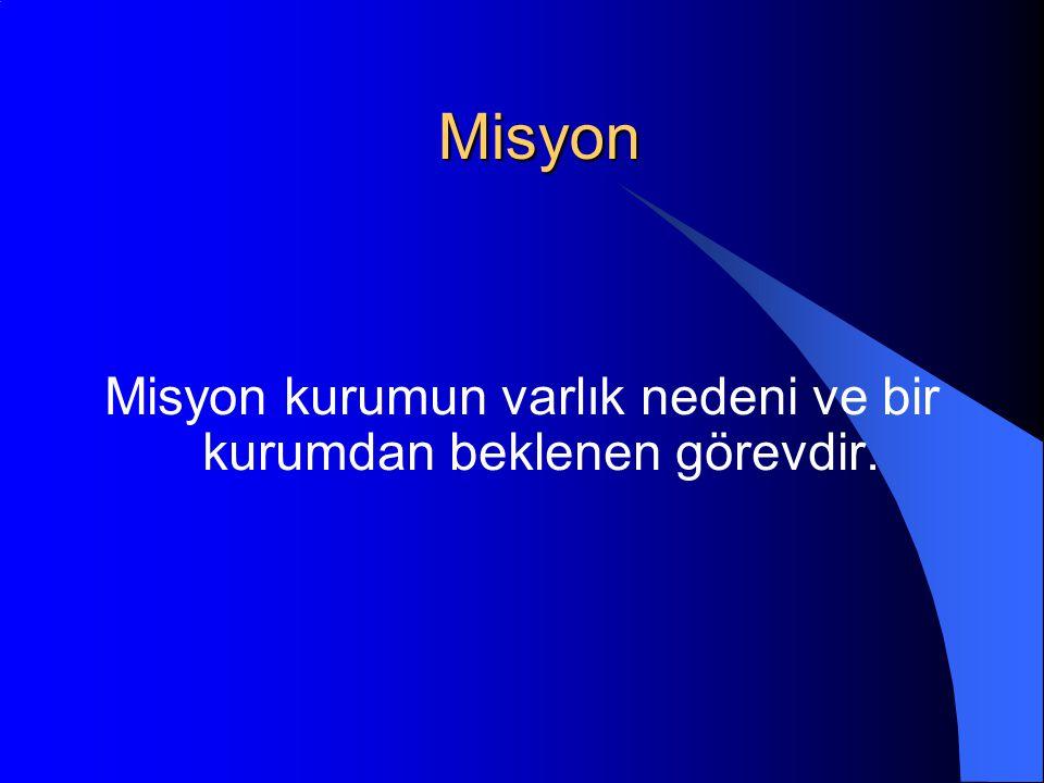 Misyon Misyon kurumun varlık nedeni ve bir kurumdan beklenen görevdir.