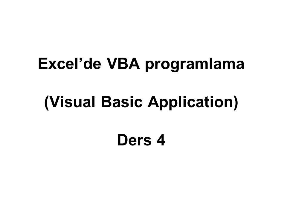 Yordam (Procedure or Function)Yazmak Yazılan VBA kodlarının hemen hepsi yordamların içinde yer alır.