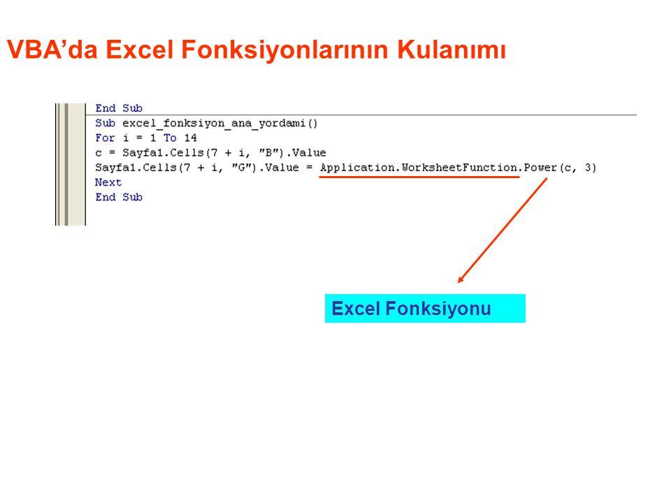 VBA'da Excel Fonksiyonlarının Kulanımı Excel Fonksiyonu