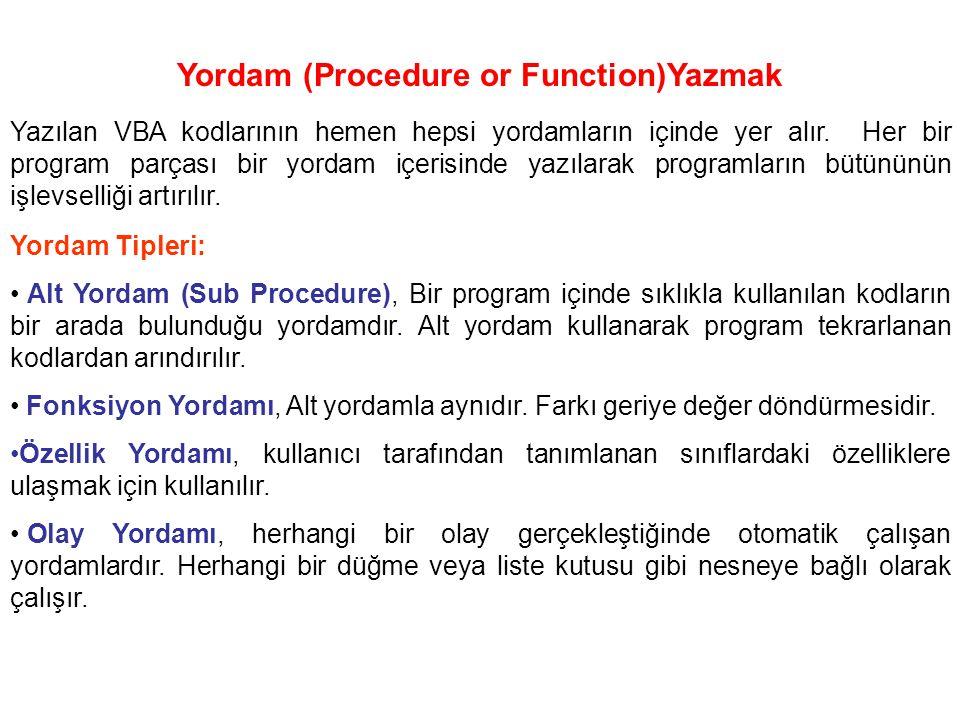 Yordam (Procedure or Function)Yazmak Yazılan VBA kodlarının hemen hepsi yordamların içinde yer alır. Her bir program parçası bir yordam içerisinde yaz
