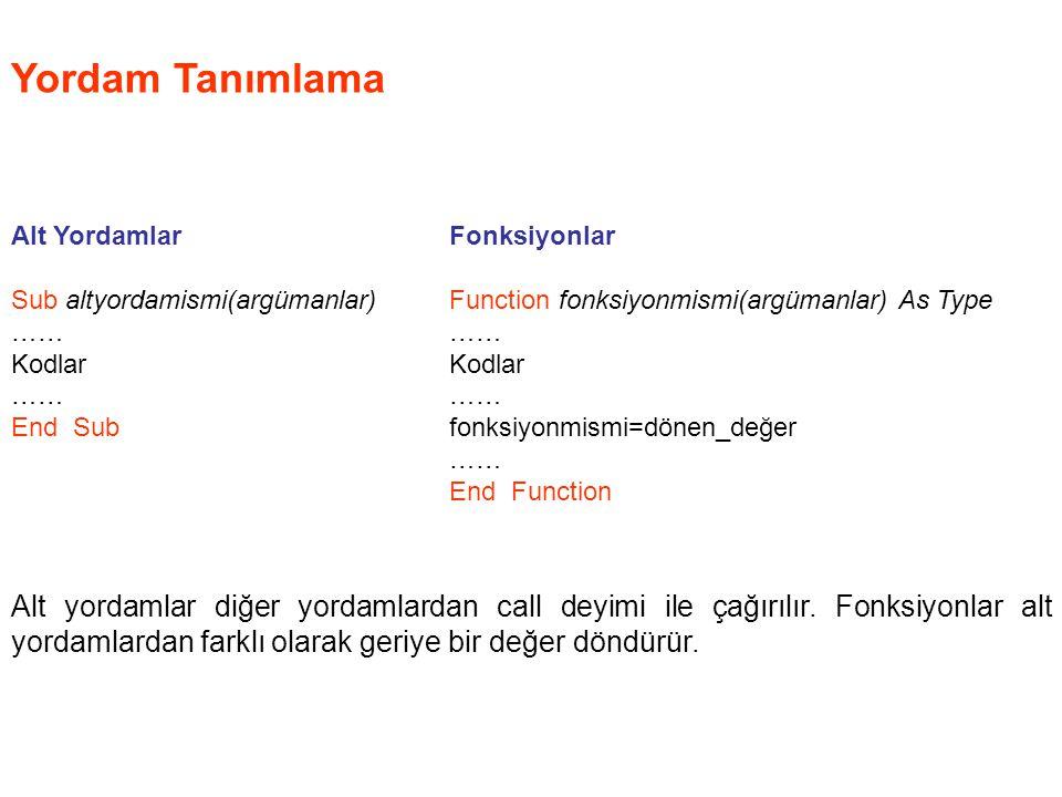 Yordam Tanımlama Alt Yordamlar Sub altyordamismi(argümanlar) …… Kodlar …… End Sub Fonksiyonlar Function fonksiyonmismi(argümanlar) As Type …… Kodlar …