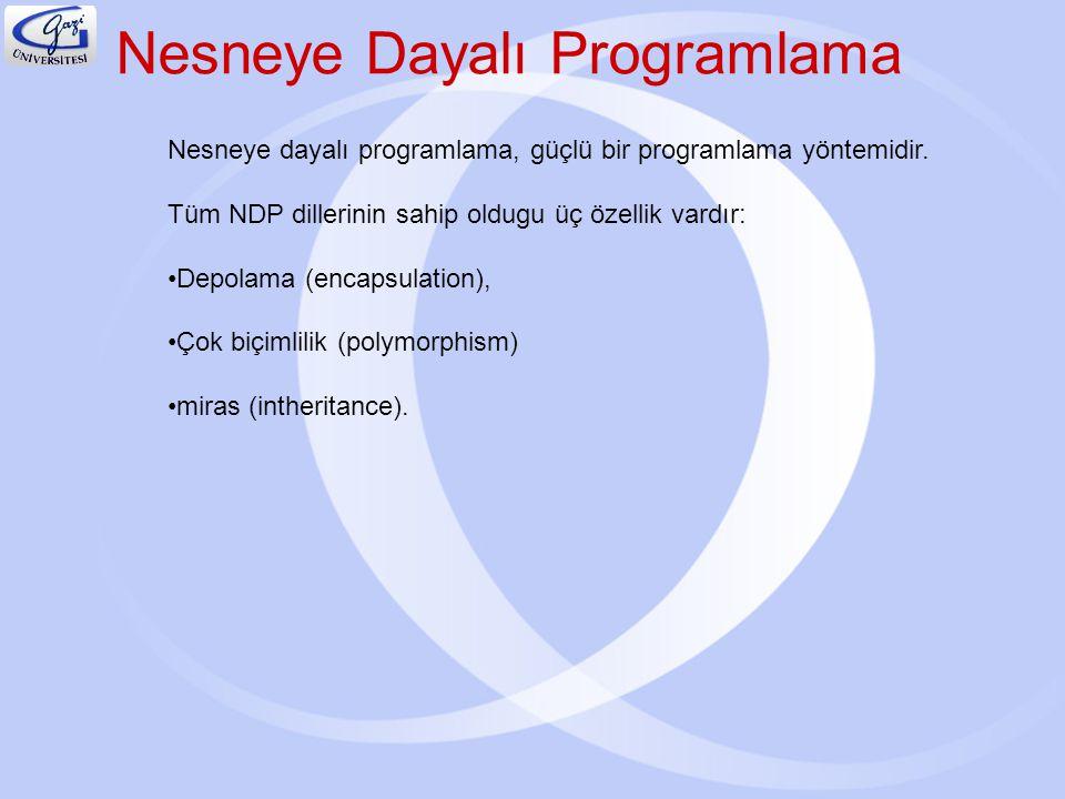 Nesneye Dayalı Programlama Nesneye dayalı programlama, güçlü bir programlama yöntemidir. Tüm NDP dillerinin sahip oldugu üç özellik vardır: Depolama (