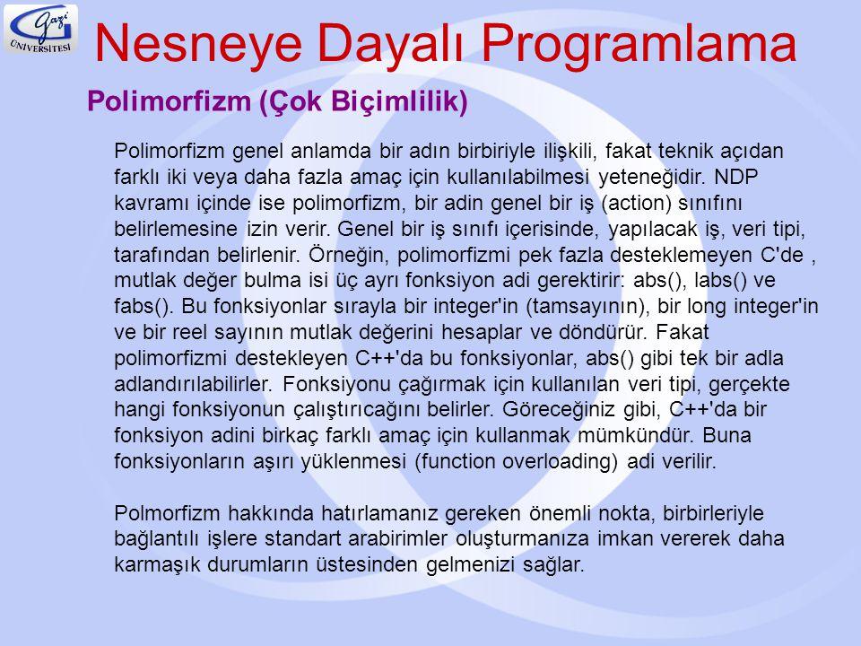 Nesneye Dayalı Programlama Polimorfizm (Çok Biçimlilik) Polimorfizm genel anlamda bir adın birbiriyle ilişkili, fakat teknik açıdan farklı iki veya da