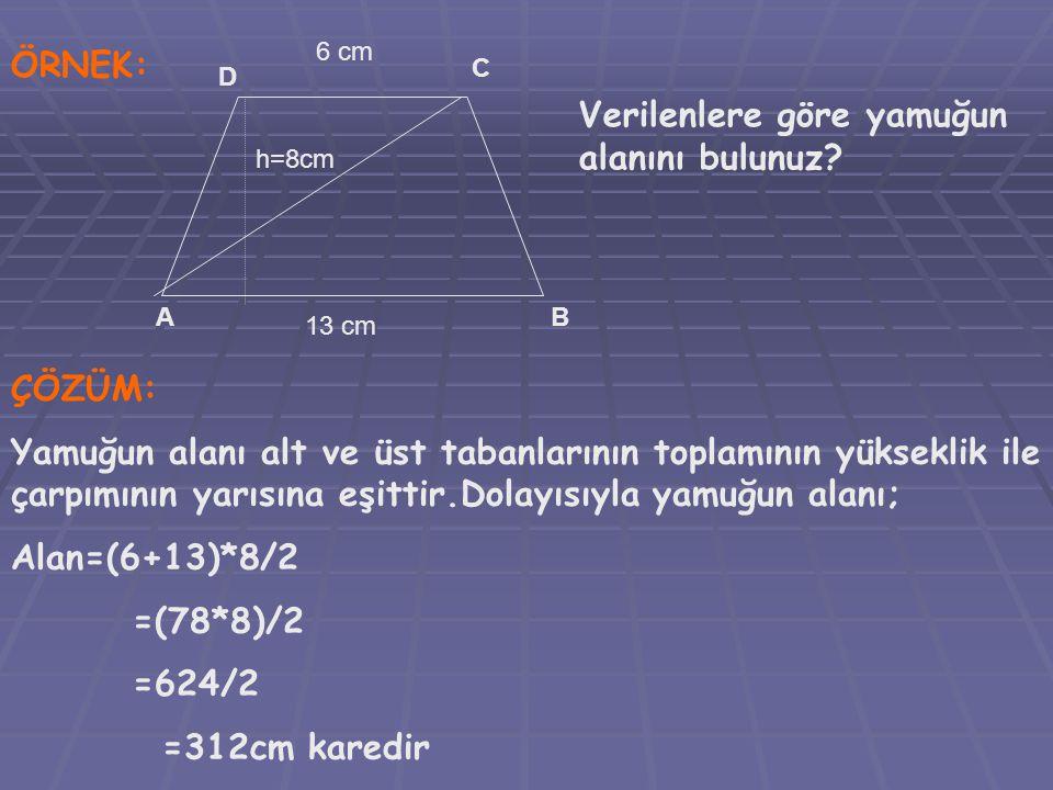 ÖRNEK: 6 cm 13 cm AB C D h=8cm Verilenlere göre yamuğun alanını bulunuz? ÇÖZÜM: Yamuğun alanı alt ve üst tabanlarının toplamının yükseklik ile çarpımı