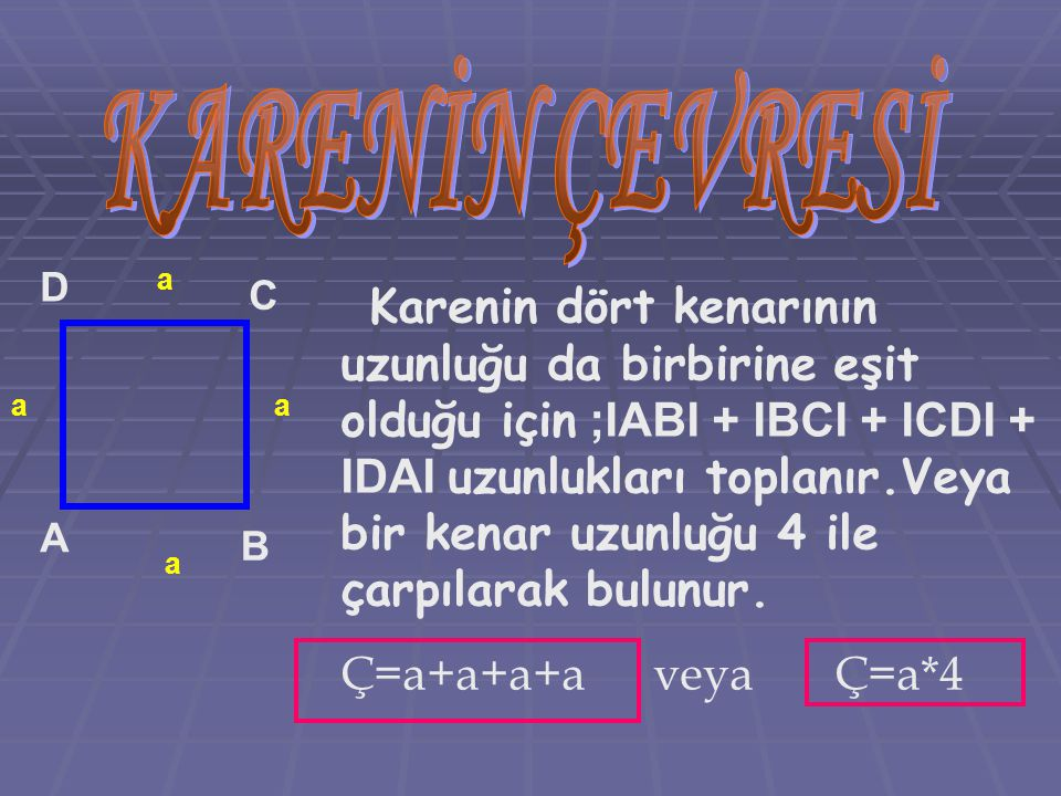 A B C D Karenin dört kenarının uzunluğu da birbirine eşit olduğu için ;IABI + IBCI + ICDI + IDAI uzunlukları toplanır.Veya bir kenar uzunluğu 4 ile ça
