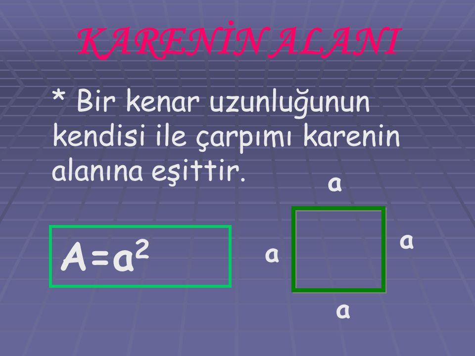 KARENİN ALANI * Bir kenar uzunluğunun kendisi ile çarpımı karenin alanına eşittir. a a a a A=a 2