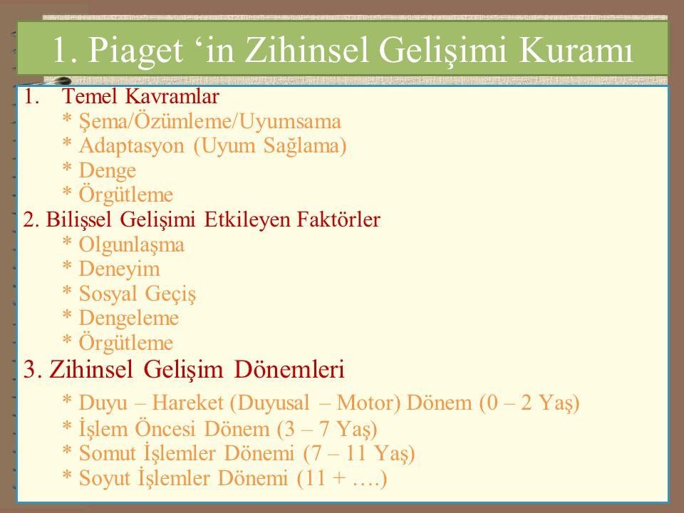 1. Piaget 'in Zihinsel Gelişimi Kuramı 1.Temel Kavramlar * Şema/Özümleme/Uyumsama * Adaptasyon (Uyum Sağlama) * Denge * Örgütleme 2. Bilişsel Gelişimi