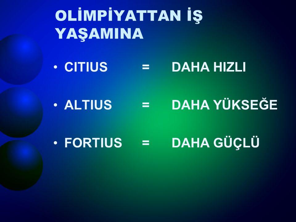 OLİMPİYATTAN İŞ YAŞAMINA CITIUS = DAHA HIZLI ALTIUS = DAHA YÜKSEĞE FORTIUS = DAHA GÜÇLÜ