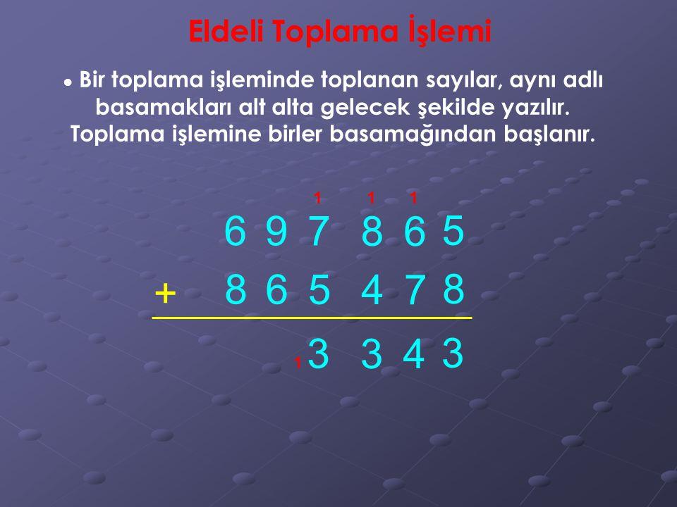 Eldeli Toplama İşlemi ● Bir toplama işleminde toplanan sayılar, aynı adlı basamakları alt alta gelecek şekilde yazılır.