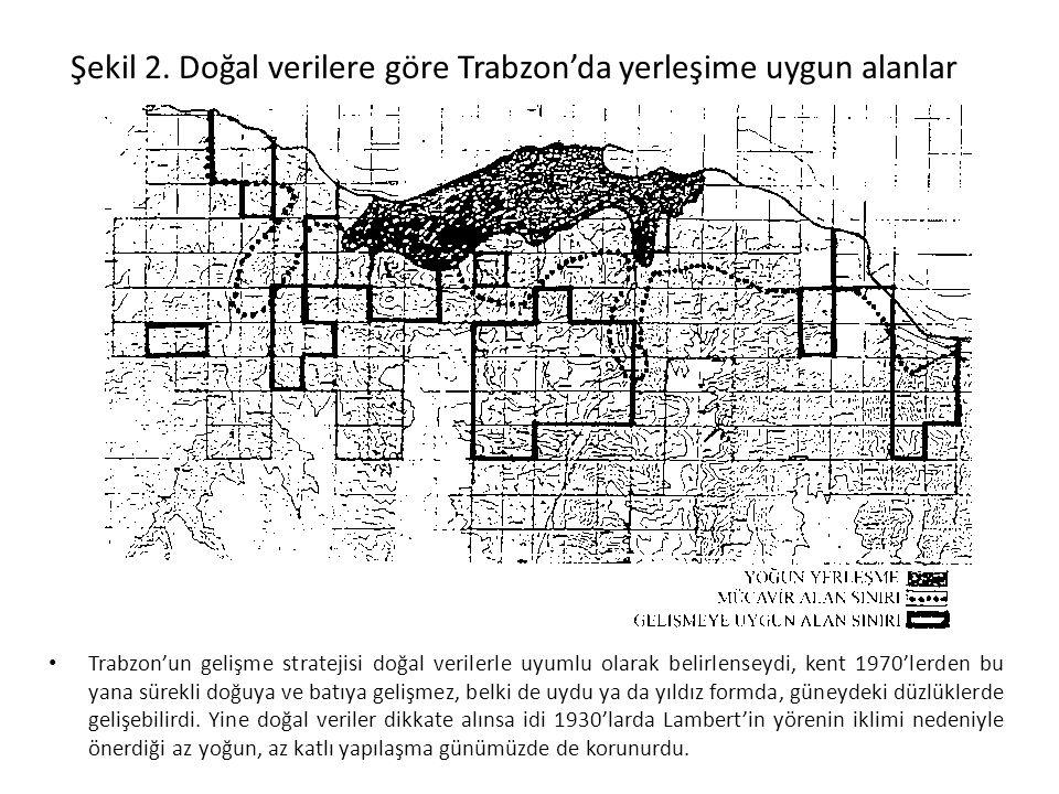 Şekil 2. Doğal verilere göre Trabzon'da yerleşime uygun alanlar Trabzon'un gelişme stratejisi doğal verilerle uyumlu olarak belirlenseydi, kent 1970'l