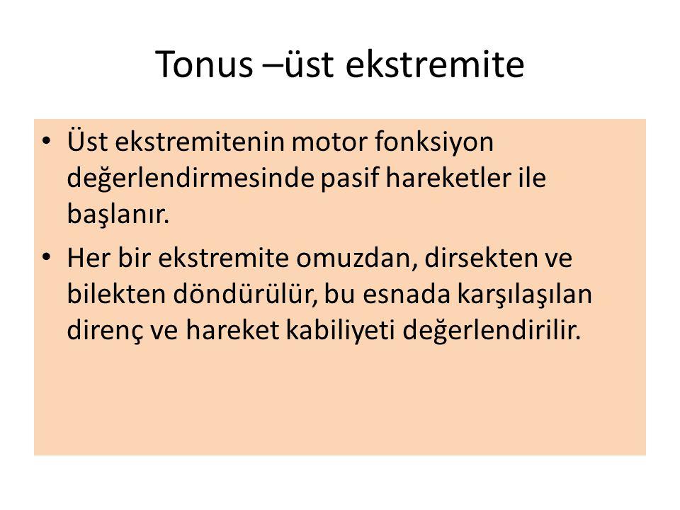 Tonus –üst ekstremite Üst ekstremitenin motor fonksiyon değerlendirmesinde pasif hareketler ile başlanır. Her bir ekstremite omuzdan, dirsekten ve bil