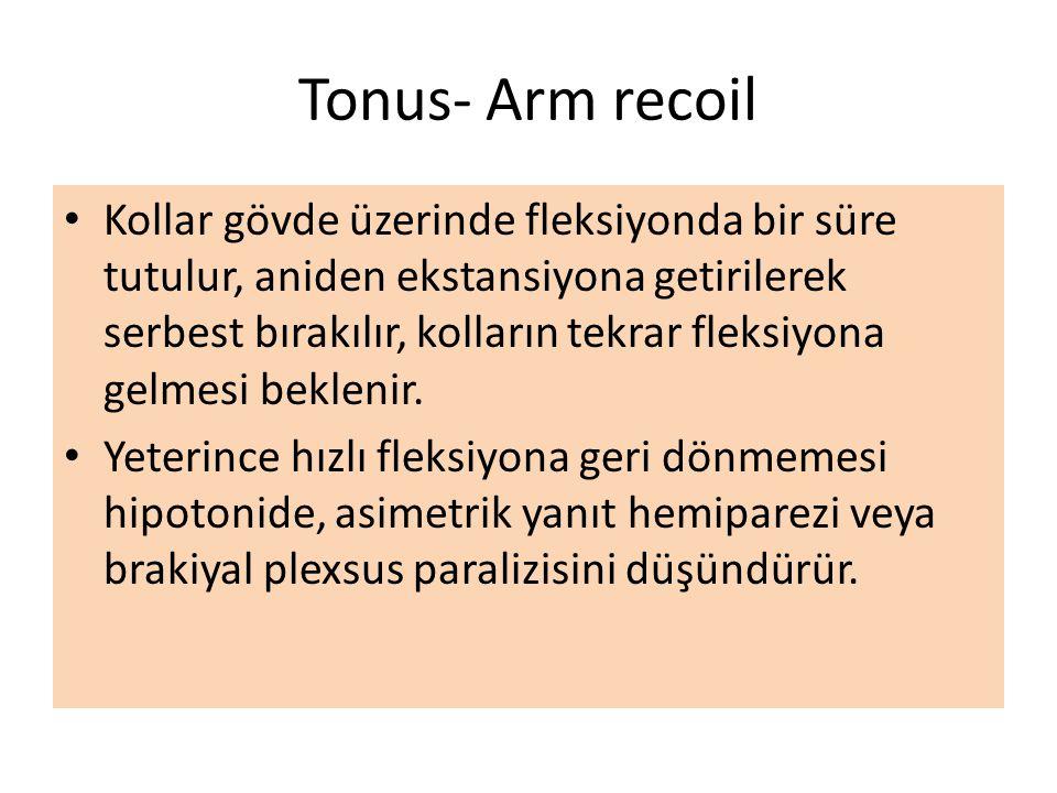 Tonus- Arm recoil Kollar gövde üzerinde fleksiyonda bir süre tutulur, aniden ekstansiyona getirilerek serbest bırakılır, kolların tekrar fleksiyona ge