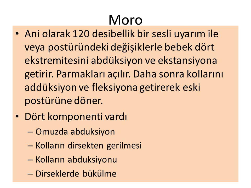 Moro Ani olarak 120 desibellik bir sesli uyarım ile veya postüründeki değişiklerle bebek dört ekstremitesini abdüksiyon ve ekstansiyona getirir. Parma
