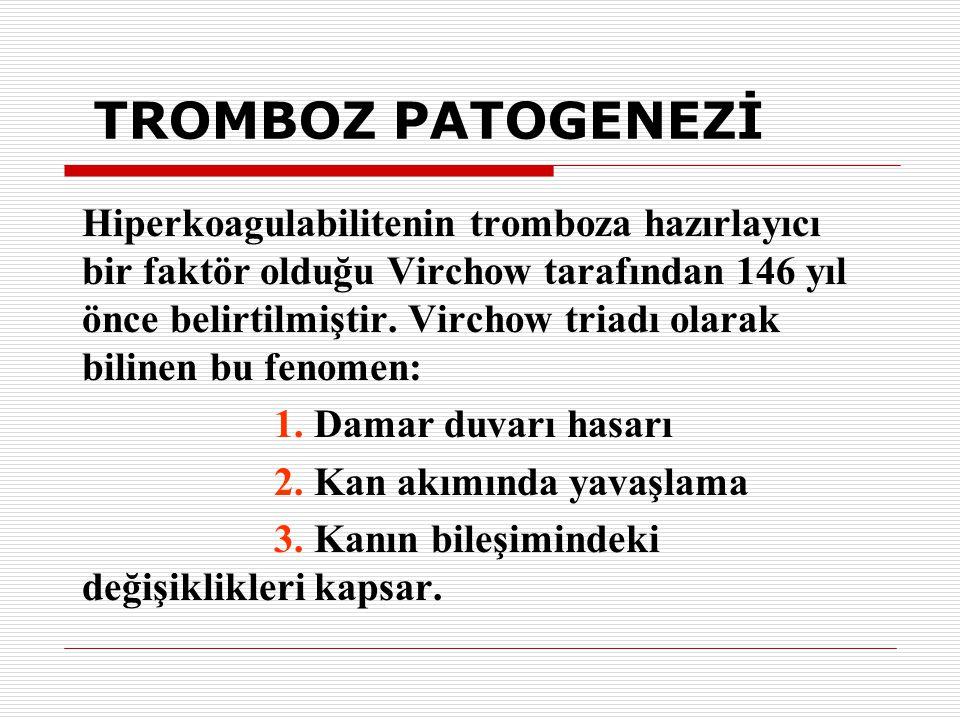 TROMBOZ PATOGENEZİ Hiperkoagulabilitenin tromboza hazırlayıcı bir faktör olduğu Virchow tarafından 146 yıl önce belirtilmiştir. Virchow triadı olarak