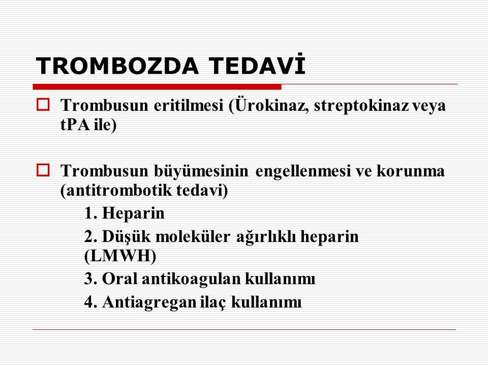 TROMBOZDA TEDAVİ  Trombusun eritilmesi (Ürokinaz, streptokinaz veya tPA ile)  Trombusun büyümesinin engellenmesi ve korunma (antitrombotik tedavi) 1