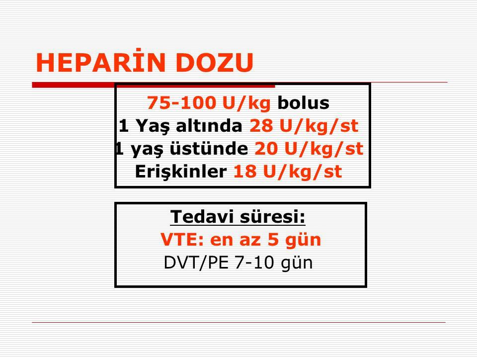 HEPARİN DOZU 75-100 U/kg bolus 1 Yaş altında 28 U/kg/st 1 yaş üstünde 20 U/kg/st Erişkinler 18 U/kg/st Tedavi süresi: VTE: en az 5 gün DVT/PE 7-10 gün