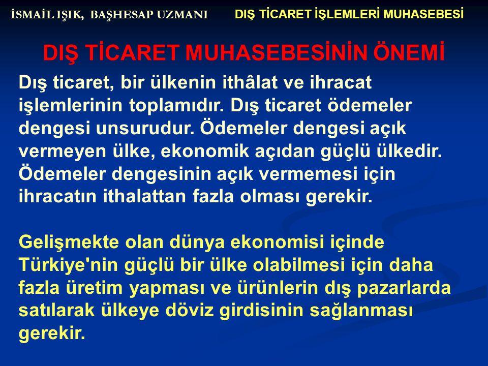 DIŞ TİCARET İŞLEMLERİ MUHASEBESİ İSMAİL IŞIK, BAŞHESAP UZMANI 192.