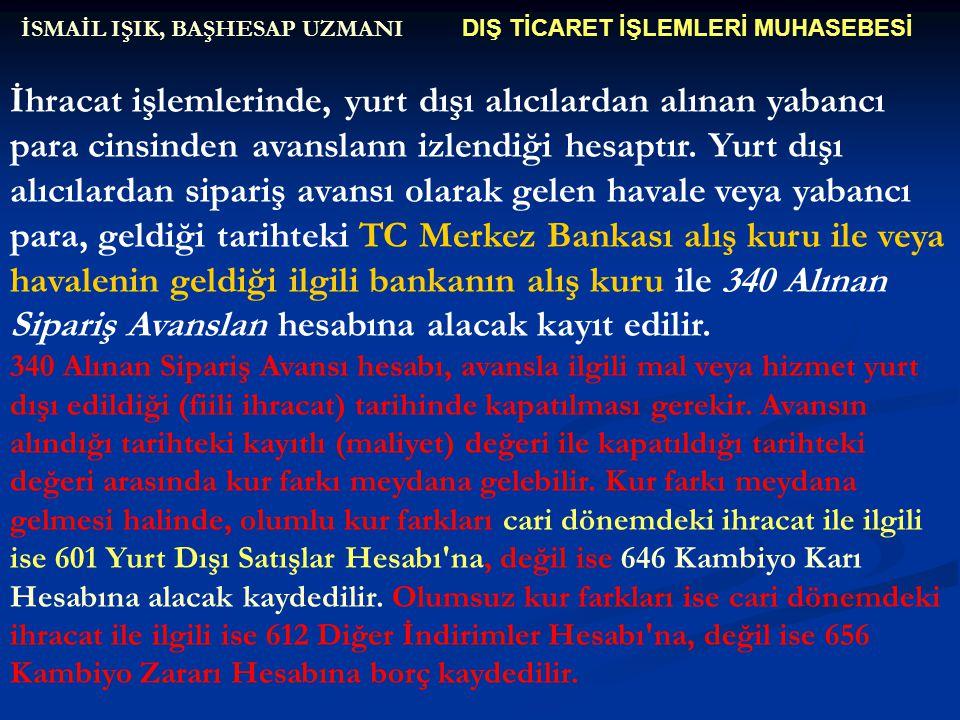 DIŞ TİCARET İŞLEMLERİ MUHASEBESİ İSMAİL IŞIK, BAŞHESAP UZMANI İhracat işlemlerinde, yurt dışı alıcılardan alınan yabancı para cinsinden avanslann izle