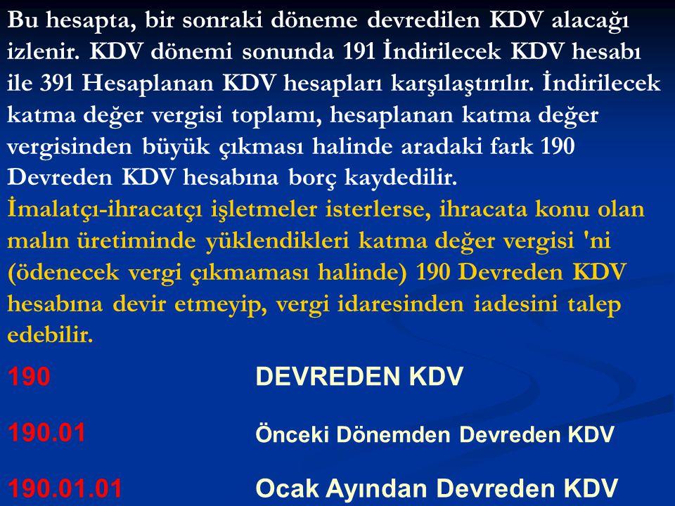 Bu hesapta, bir sonraki döneme devredilen KDV alacağı izlenir. KDV dönemi sonunda 191 İndirilecek KDV hesabı ile 391 Hesaplanan KDV hesapları karşılaş