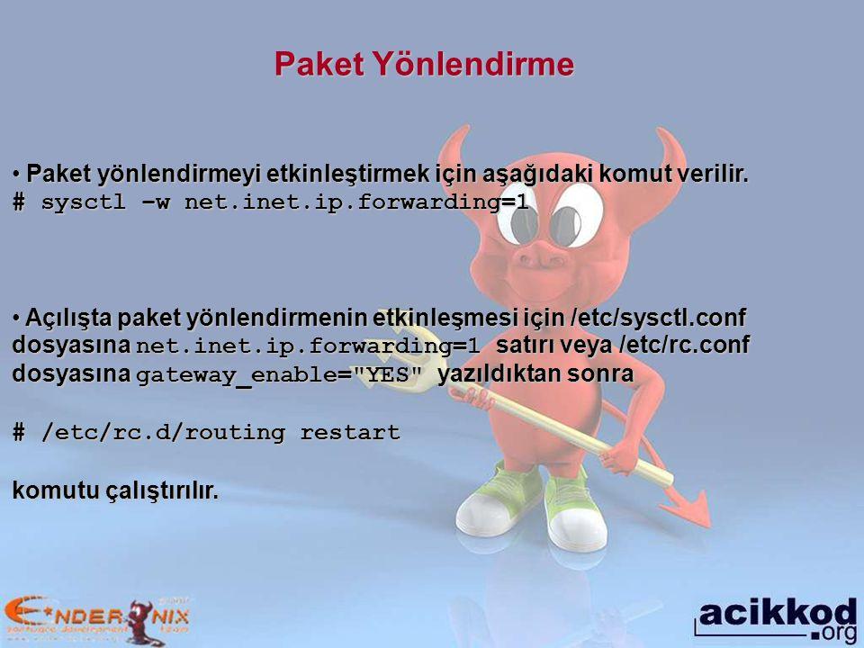 Paket Yönlendirme Paket yönlendirmeyi etkinleştirmek için aşağıdaki komut verilir.