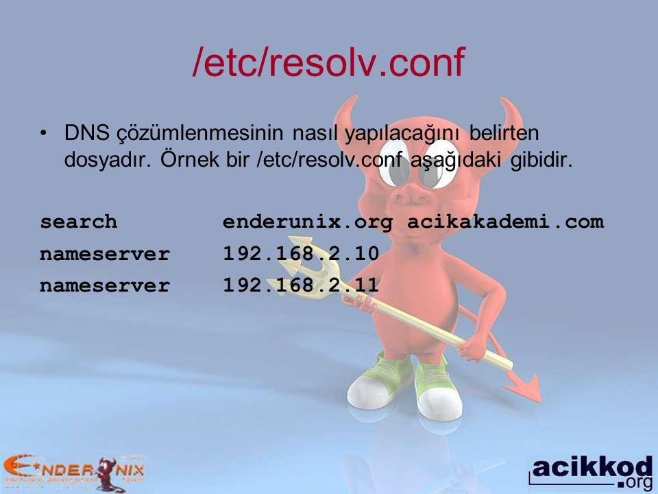 /etc/resolv.conf DNS çözümlenmesinin nasıl yapılacağını belirten dosyadır.