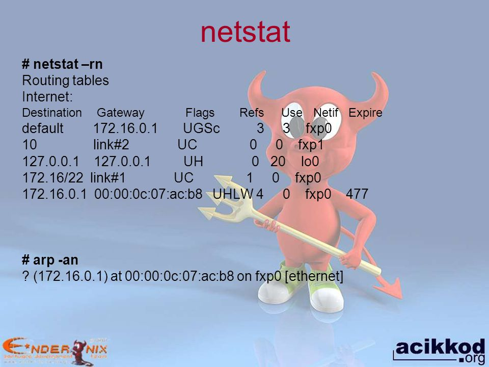 netstat # netstat –rn Routing tables Internet: Destination Gateway Flags Refs Use Netif Expire default 172.16.0.1 UGSc 3 3 fxp0 10 link#2 UC 0 0 fxp1